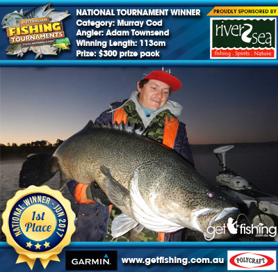 Murray Cod 113cm Adam Townsend River2Sea $300 prize pack