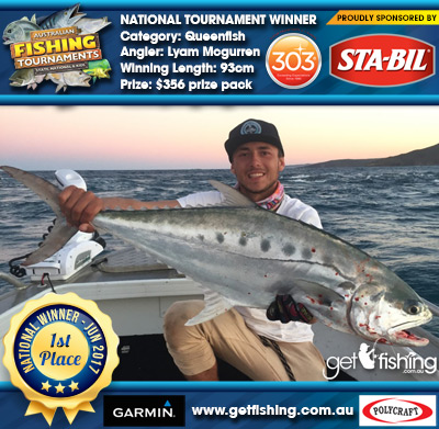 Queenfish 93cm Lyam Mcgurren STA-BIL Marine and 303 Protectants and Cleaners $356 prize pack