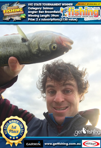 Salmon 39cm Ben Broomfield VIC Fishing Monthly 2 x subscriptions($130 value)