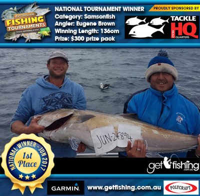 Samsonfish 136cm Eugene Brown Tackle HQ $300 prize pack