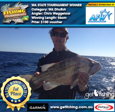 WA Dhufish 56cm Chris Weggelaar Anglers Fishing World $100 voucher