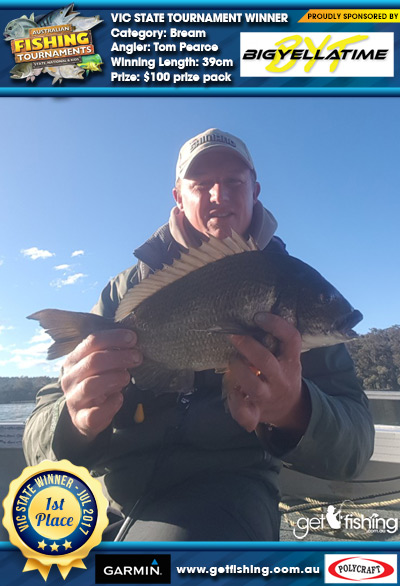 Bream 39cm Tom Pearce Big Yella Time $100 prize pack