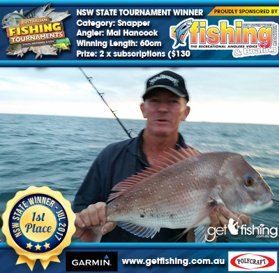 Snapper 60cm Mal Hancock NSW Fishing Monthly Magazine 2 x subscriptions ($130 value)