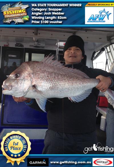 Snapper 82cm Josh Webber Anglers Fishing World $100 voucher
