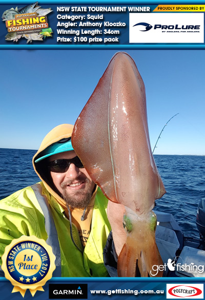 Squid 34cm Anthony Kloczko Pro Lure Australia $100 prize pack