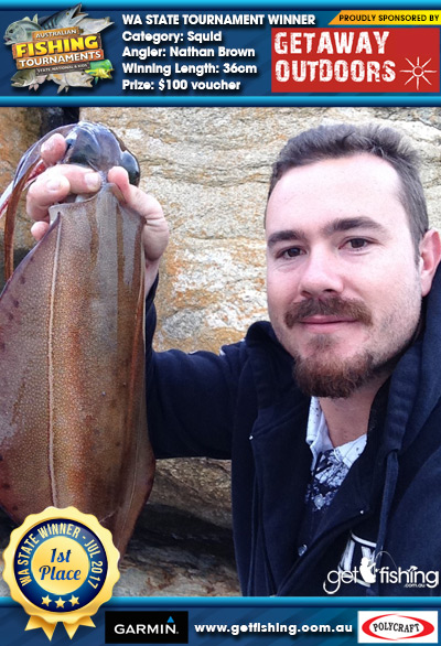 Squid 36cm Nathan Brown Getaway Outdoors $100 voucher