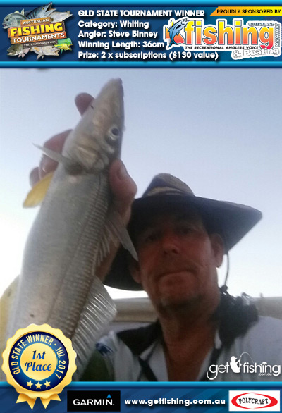 Whiting 36cm Steve Binney Fishing Monthly QLD 2 x subscriptions ($130 value)