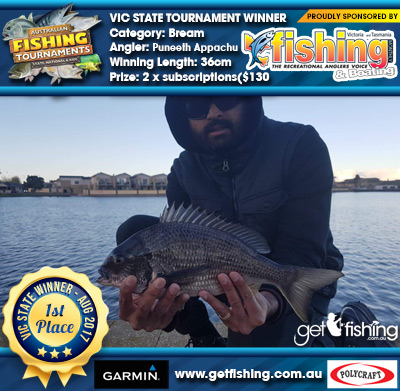 Bream 36cm Puneeth Appachu VIC Fishing Monthly 2 x subscriptions($130 value)