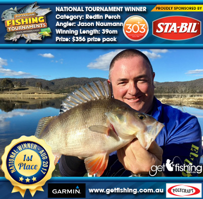 Redfin Perch 39cm Jason Naumann STA-BIL Marine and 303 Protectants and Cleaners $356 prize pack