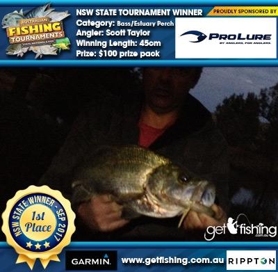 Bass/Estuary Perch 45cm Scott Taylor Pro Lure Australia $100 prize pack