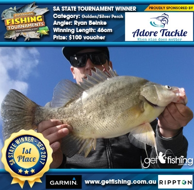 Golden/Silver Perch 46cm Ryan Beinke Adore Tackle $100 voucher