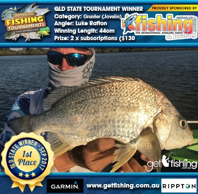 Grunter (Javelin) 44cm Luke Rafton Fishing Monthly QLD 2 x subscriptions ($130 value)