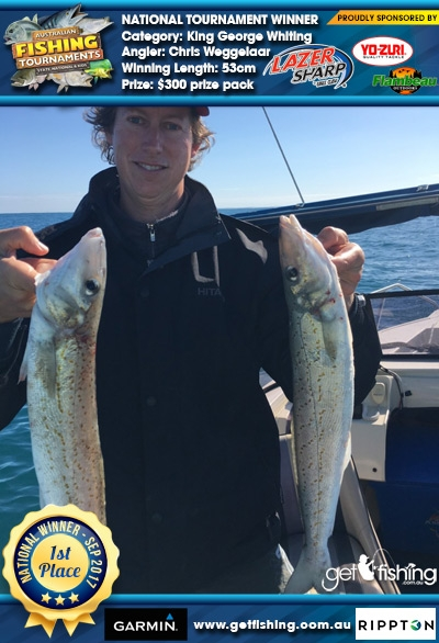 King George Whiting 53cm Chris Weggelaar Eagle Claw/Yo-Zuri $300 prize pack