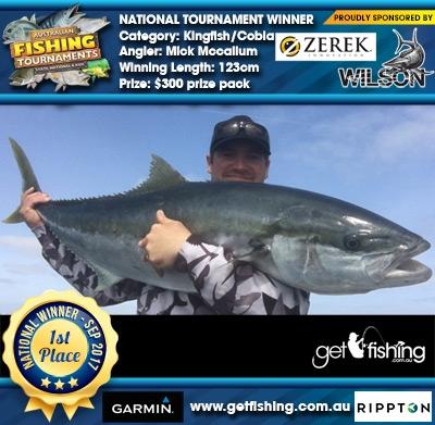 Kingfish/Cobia 123cm Mick Mccallum Wilson/Zerek $300 prize pack