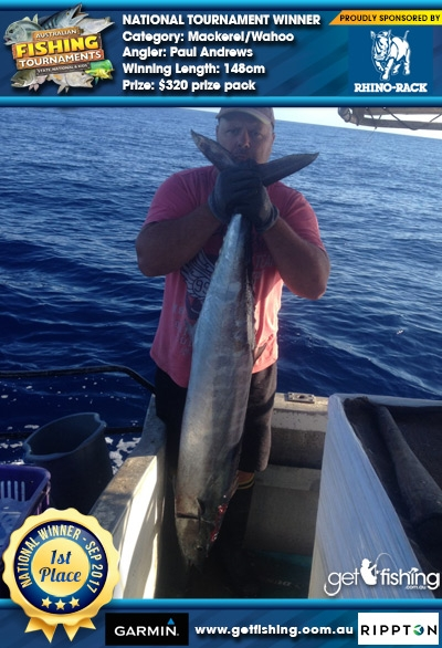 Mackerel/Wahoo 148cm Paul Andrews Rhino Rack $320 prize pack
