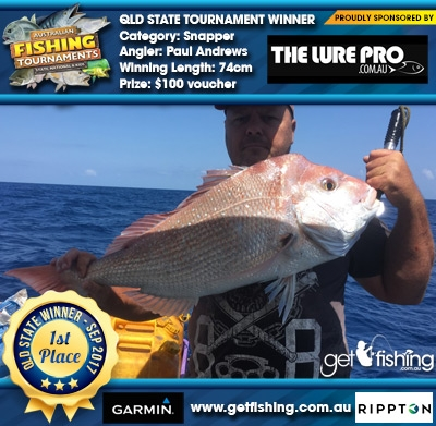 Snapper 74cm Paul Andrews The Lure Pro $100 voucher