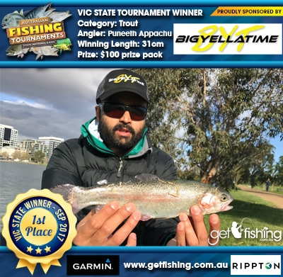 Trout 31cm Puneeth Appachu Big Yella Time $100 prize pack