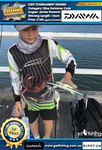 Blue Swimmer Crab 16cm Jamie Paranihi Daiwa $160 Laguna reel/knob