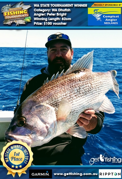WA Dhufish 82cm Peter Bright Compleat Angler Nedlands $100 voucher