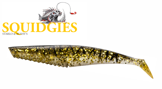 Squidgies Whip Bait Black and gold 100mm