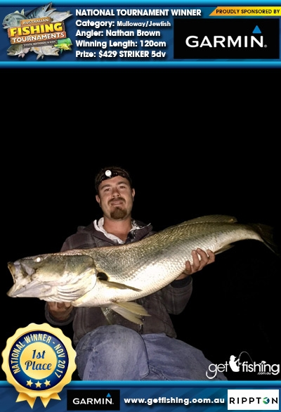 Mulloway/Jewfish 120cm Nathan Brown Garmin $429 STRIKER 5dv