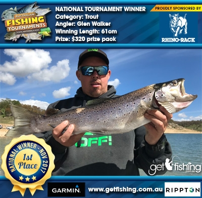 Trout 61cm Glen Walker Rhino Rack $320 prize pack