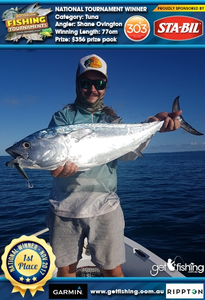 Tuna 77cm Shane Ovington STA-BIL Marine and 303 Protectants and Cleaners $356 prize pack