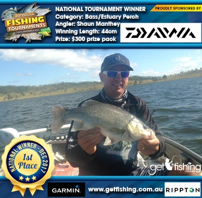 Bass/Estuary Perch 44cm Shaun Manthey Daiwa $300 prize pack