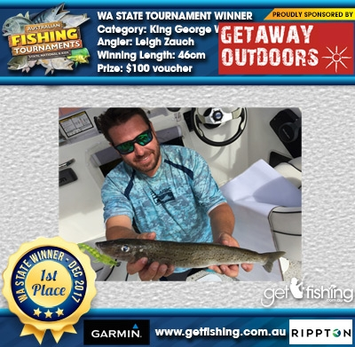 King George Whiting 46cm Leigh Zauch Getaway Outdoors $100 voucher