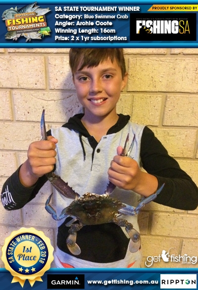 Blue Swimmer Crab 16cm Archie Coote Fishing SA 2 x 1yr subscriptions