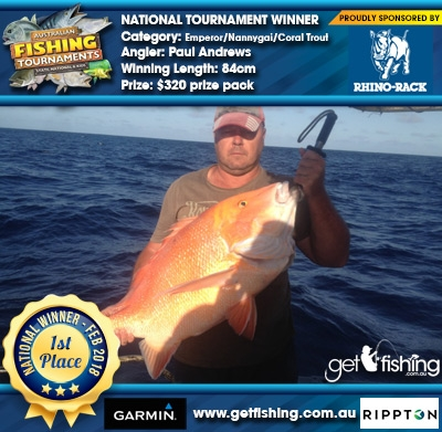 Emperor/Nannygai/Coral Trout 84cm Paul Andrews Rhino Rack $320 prize pack