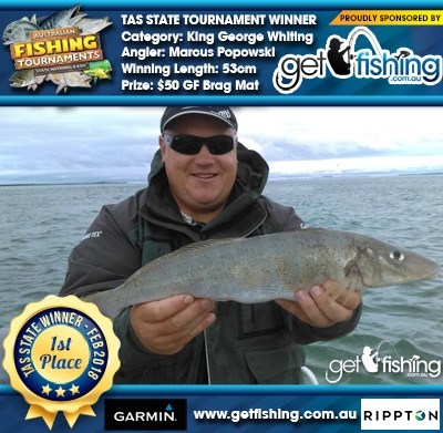 King George Whiting 53cm Marcus Popowski Get Fishing $50 GF Brag Mat