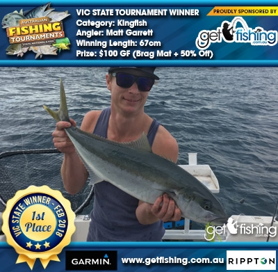 Kingfish 67cm Matt Garrett Get Fishing $100 GF Brag Mat + 50% Off New Entry