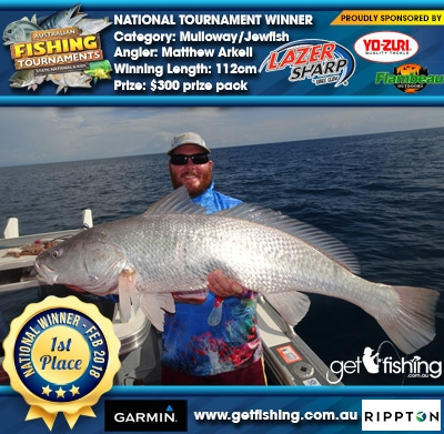 Mulloway/Jewfish 112cm Matthew Arkell Eagle Claw/Yo-Zuri $300 prize pack