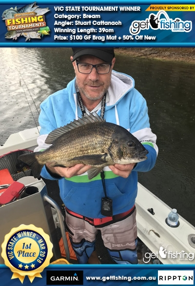 Bream 39cm Stuart Cattanach Get Fishing $100 GF Brag Mat + 50% Off New Entry