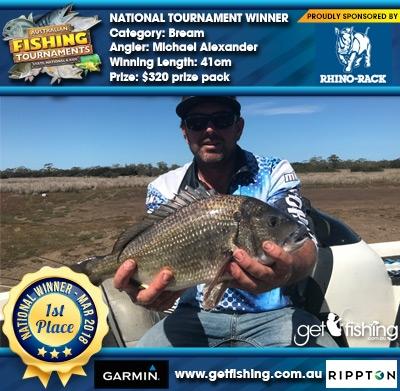 Bream 41cm Michael Alexander Rhino Rack $320 prize pack