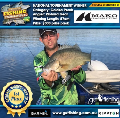 Golden Perch 57cm Richard Gear Mako Eyewear $300 prize pack