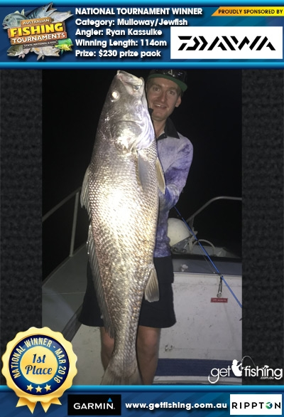 Mulloway/Jewfish 114cm Ryan Kassulke Daiwa $230 prize pack
