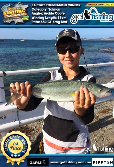 Salmon 37cm Archie Coote Get Fishing $50 GF Brag Mat