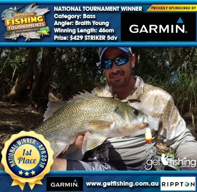 Bass 46cm Braith Young Garmin $429 STRIKER 5dv