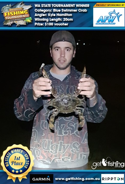 Blue Swimmer Crab 20cm Kyle Hamilton Anglers Fishing World $100 voucher