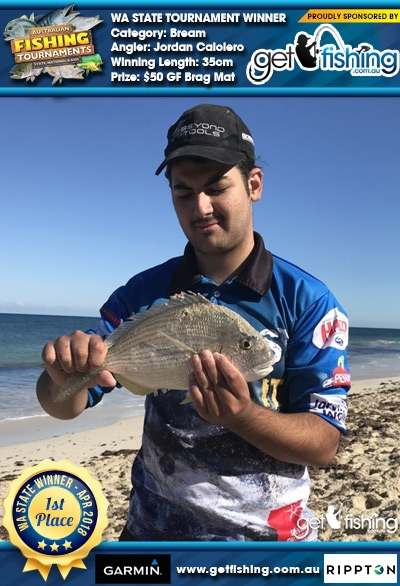 Bream 35cm Jordan Caloiero Get Fishing $50 GF Brag Mat