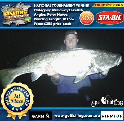Mulloway/Jewfish 131cm Peter Hayes STA-BIL Marine and 303 Protectants and Cleaners $356 prize pack