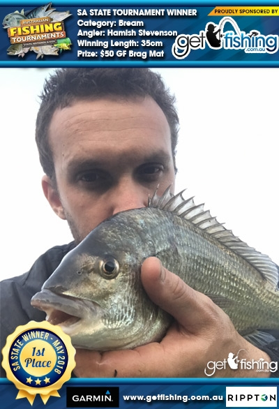 Bream 35cm Hamish Stevenson Get Fishing $50 GF Brag Mat