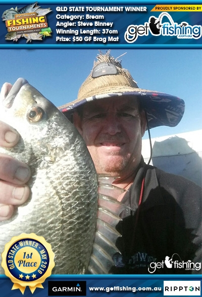Bream 37cm Steve Binney Get Fishing $50 GF Brag Mat