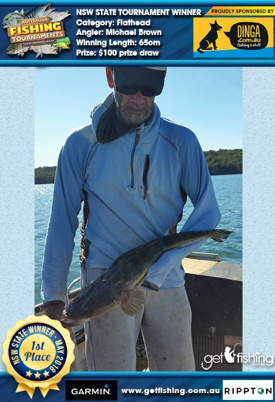 Flathead 65cm Michael Brown Dinga Fishing $100 prize draw