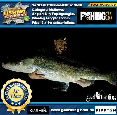 Mulloway 150cm Billy Papageorgiou Fishing SA 2 x 1yr subscriptions