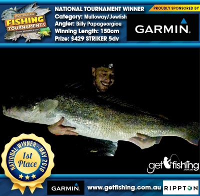 Mulloway/Jewfish 150cm Billy Papageorgiou Garmin $429 STRIKER 5dv