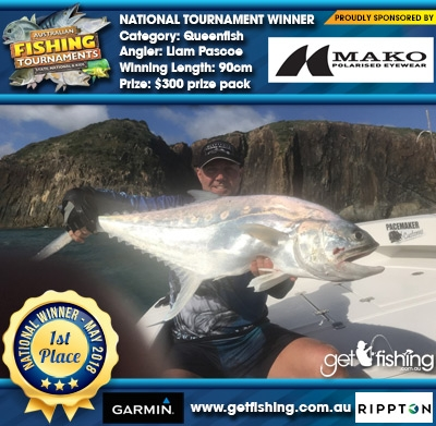 Queenfish 90cm Liam Pascoe Mako Eyewear $300 prize pack