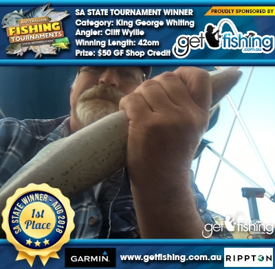 King George Whiting 42cm Cliff Wyllie Get Fishing $50 GF Shop Credit